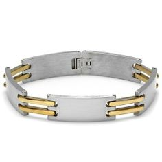 Stainless Steel Link Two Tone Polished and Satin Mens Bracelet 8 inch 13 mm DazzlingRock Collection. $14.99. Get most bang for your buck. Length of the bracelet is 8.5 inches. It is a trendy accessory and makes a perfect gift for any occasion.. Stainless Steel Bracelet. Save 50%!
