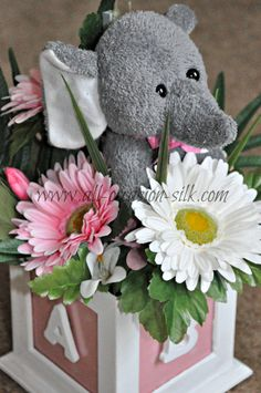 Centerpiece created for an elephant-themed baby shower (shipped to California)