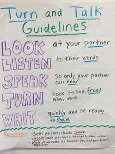 Turn and Talk Guidelines Poster and anchor chart for a classroom