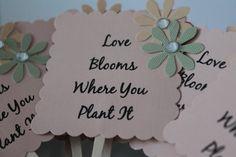 Love Blooms Where You Plant It #Wedding Favor by #ANavyHeart on #Etsy. #Weddings #Decorations #Personalized #favors #bridalshower #loveblooms #SucculentFavor #weddingfavor #cupcakepicks