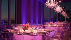 Create a romantic wedding reception with our Cube Tables and Louis Ghost chairs. Pair them with our sparkling crystal chandeliers for a shimmering, elegant setting.