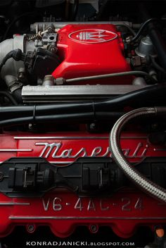 Maserati Ghibli II engine - full set on http://konradjanicki.blogspot.com/2013/12/maserati-ghibli.html #Car #Red #engine #v6 #biturbo #maserati #ghibli