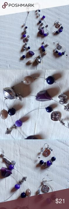 Chico's necklace and earring set🌷 Never worn, purple beads, dangle hoop earrings. Silver and purples. Chico's Jewelry Necklaces