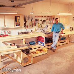 Workbench for a small space. A fold-out work table, a roll out table saw stand, a miter box table and lots of storage—cabinets, drawers, pegboard and shelves. All inexpensive and easy to build. Ideal for a garage or other limited shop space.