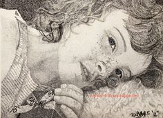 Gillian in pen and ink stippling done by Lynn Cloudsdale