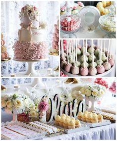 Pink + Ivory Vintage Christening Dessert Table