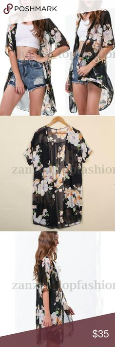 Zanzea black floral half sleeve chiffon cardigan Beautiful black with colored florals open cardigan. Has half sleeves. Longer styled in chiffon. Marked 4X but USA OSFM. Zanzea  Accessories Scarves & Wraps