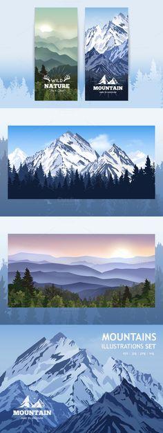 Mountain vector illustration set