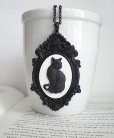 Halloween Cat. Black Cat. Halloween Necklace. Witches Cat. Gothic Jewelry. Cat Necklace. Fall Fashion.. $21.00, via Etsy.