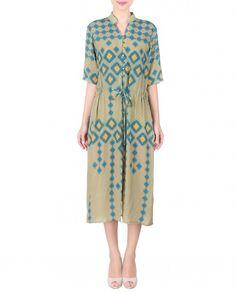 Olive Calf-Length Dress