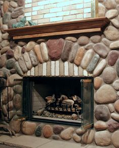 River Rock Fireplace Pictures Fireplace Pinterest Fireplace
