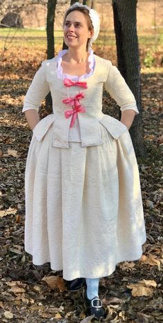 Handmade 18th century quilted jacket and petticoat dress historical costume made from repurposed bedspread