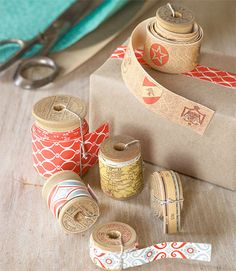 Make your own decorative tape from wrapping paper.  Lightweight scrapbook paper would work too.