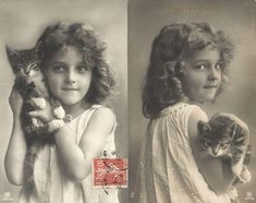 Side by side photos of girl with kitten.