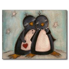 Penguin Love - Christmas Postcard