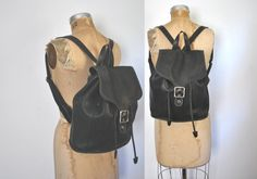 Coach Leather Backpack / Black Bookbag / 1980s by badbabyvintage on Etsy