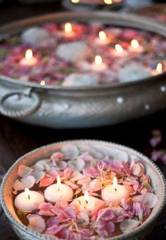 candles floating, love this for a tablescape centerpiece!