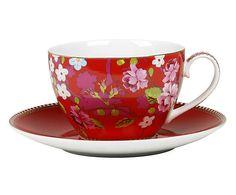 Xícara para chá com pires chinese rose rama - 280ml
