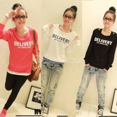 $4.30 Korean Women's Youth Sportive Casual Long Sleeve Pullover Sweatshirts 6 Colors