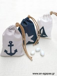 Fabric pouch with nautical decorations pcs baptism bonbonniere gray / white / denim pouch with nautical printed decor Animal Bag, Kids Bags, Goodie Bags, Pouch Bag, White Denim, Beach Party, Travel Bag, Christening, Baby Shower