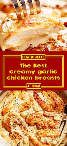 The Best creamy garlic chicken breasts IngredientsFor The large boneless and skinless chicken breasts halved horizontally to m Grilled Chicken Recipes, Easy Chicken Recipes, Chicken Meals, Evaporated Milk Recipes, Creamy Garlic Chicken, Chicken Breasts, Boneless Skinless Chicken Breast Recipe, Cooking Recipes, Crockpot Recipes