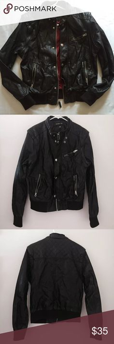 Members only dark brown faux leather moto jacket Excellent like new condition Members Only Jackets & Coats