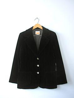 Vintage 70's black velvet blazer, velvet jacket, black blazer, women's size 8 / 10 medium
