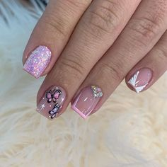 Glam Nails, Neon Nails, Beauty Nails, Disney Acrylic Nails, Disney Nails, Manicure Nail Designs, Nail Manicure, Work Nails, Butterfly Nail Art