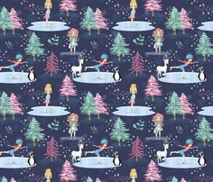 Ice skating 001 fabric by koko_bun on Spoonflower - custom fabric My Design, Custom Design, Lady Bug, Ice Skating, Sadie, Creative Business, Custom Fabric, Spoonflower, Fabric Design