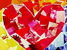 Valentine Heart Mosaic-  -WHAT YOU NEED:    construction paper--  old magazines or catalogs--  scissors--  glue--