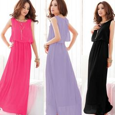 7836d16b9ed 2014 New Women Long Dress Summer Sleveless Dress Beach Chiffon Dress