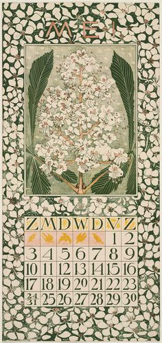Chestnut Blossoms (1903). May calendar page by Theodorus van Hoytema (1863–1917).Image and text courtesy MFA Boston