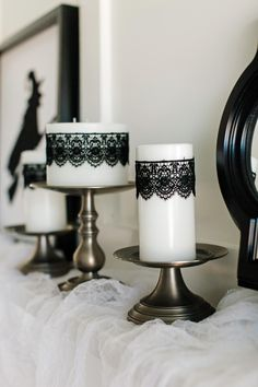 How to Make Black Lace Candles http://www.diynetwork.com/how-to/make-and-decorate/entertaining/how-to-make-black-lace-halloween-candles >>