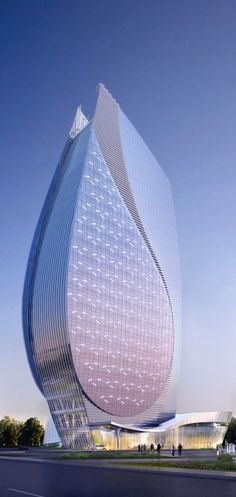 Azersu Office Tower, Baku, Azerbaijan designed by Heerim Architects and Planners :: 22 floors, height 124m [Futuristic Architecture: http://futuristicnews.com/category/future-architecture/] ☮k☮ #architecture I don't usually like modern buildings but this is truly amazing.