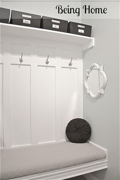 Nook turned into awesome mudroom bench!  I love this and would love to do that in our entryway