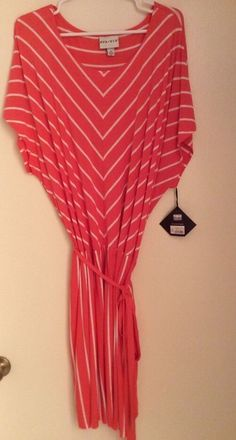 Ava & Viv size 3X striped dress coral and white short sleeve NWT #AvaViv