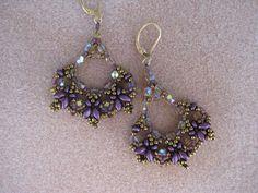 Hand Beaded Earrings of Crystals SuperDuos by SleepingCatDesigns, $42.00