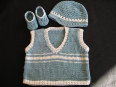 Baby Boy Vest Hat and Shoes Crocheted in by ButterflyKissesLLC, $49.99