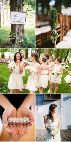 same but different bridesmaids dresses & the bride is wearing a kirsten kuehn sash :)