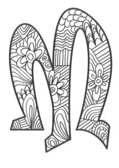 The super original mandaletras learn the alphabet - Educational Images Alphabet Letter Crafts, Alphabet Design, Alphabet And Numbers, Letter Art, Blank Coloring Pages, Valentine Coloring Pages, Disney Coloring Pages, Doodle Lettering, Lettering Design