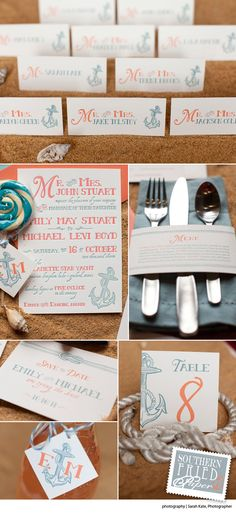 southern fried paper suite. coral and seafoam!