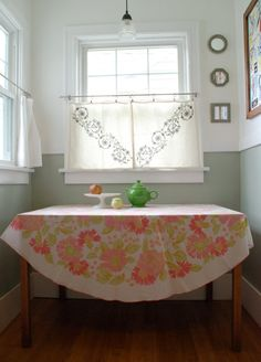 Vintage Pink and Green Table Cloth