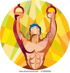 Low polygon style illustration of a crossfit athlete body training weight exercise hanging on gymnastic ring dip kipping muscle up facing front inside circle done in retro style on isolated background