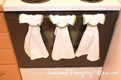 A simple hanging dish towel that actually stays put!