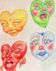 Color Symbolism, Heart Face, Face Expressions, Hisoka, Cute Art, Symbols, Artist, Artwork, Instagram