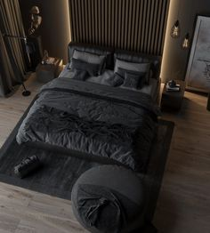 The classic elegant black colored bedroom never goes out of style. Tag a friend who loves dark bedroom? Black Bedroom Design, Bedroom Bed Design, Home Room Design, Home Decor Bedroom, Home Interior Design, Bedroom Black, Modern Interior, Loft Design, Bedroom Inspo