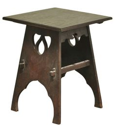 Oak Arts & Crafts Side Table, 20th century, the square top raised on two shaped and pierced supports with valanced skirt and straight stretchers, ht. 24, wd. 19 1/4, dp. 19 1/4 in.