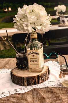 Tennessee honey Jack Daniels hydrangea rustic wedding center piece  -MJD