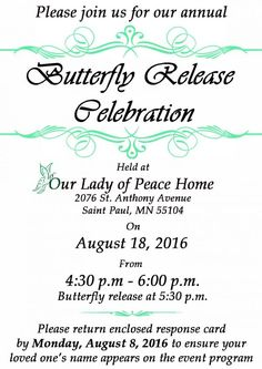 Our Lady of Peace :: Annual Butterfly Release