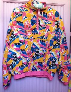 Vtg 90s Swag Coat Jacket Wild Print L Large Windbreaker Retro Abstract Pink | eBay